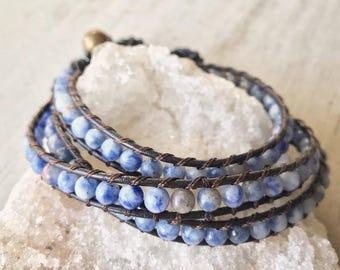 Sodalite Pierre Bracelet/bracelet de cheville, cuir naturel de pierres précieuses wrap Bracelet, Bohostyle, Bohème, cadeau pour elle, bracelet de cheville