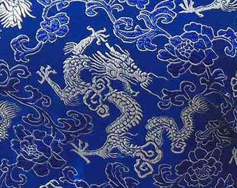 Chinese brocade satin fabric material dull white dragon on electric blue embroidered by the 0.5 YARDS, Yards Meters cbs 619
