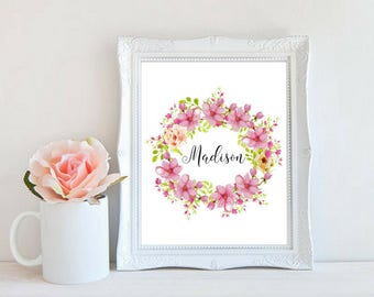 Baby Girl Name Nursery Decor Digital Art Family Name Printable Baby Shower Gift Daughter Neice Watercolor Floral Wreath Art