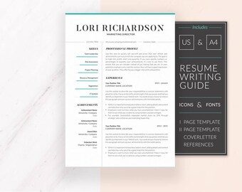 Modern Resume Template | Resume Template for Word | CV Template + Cover Letter & References | Professional Resume | Instant Download | Lori