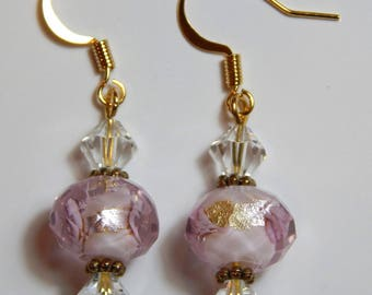 Rose and Crystals with 14K Gold Plated Earwires