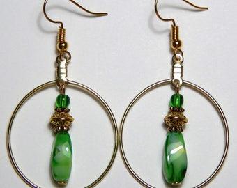 Gold Hoop Drops and Green Earrings