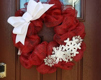 Cranberry Red Metallic Deco Mesh Wreath with Snowflakes and Bow