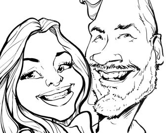 Black&white caricature for two person