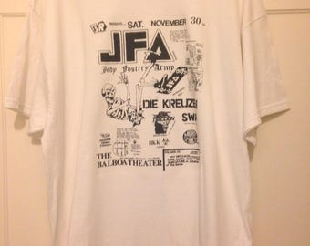 T-shirt Old Punk Rock Concert Flyer JFA Faction Die Kreuzen SWA Men's White