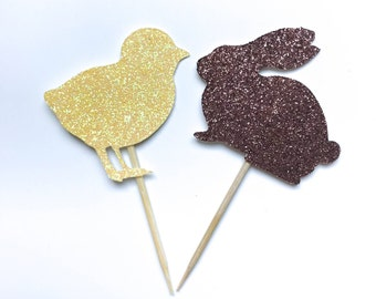 Easter Bunny and Chicks Glitter Cupcake Toppers 12 Count