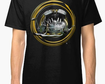 Harley Davidson Flathead V-Twin inspired Motorcycle engine T Shirt INISHED