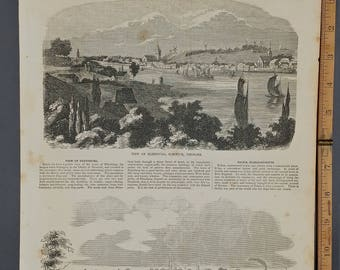 View of Salem, Massachusetts 1854. View of Flensburg, Sleswick, Denmark including Windmills. Large Antique Engraving, About 11x15