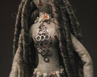 Textile artdoll. Mermaid Siren.