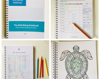 The Well-Being Notebook -Mood Diary (A5) Mindfulness Colouring & Affirmations The Well-Being Notebook -Mood Diary, Mood Journal, Mood Track