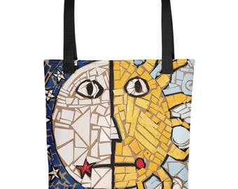 Sun and Moon Mosaic - Amazingly beautiful full color tote bag with black handle featuring children's donated artwork.