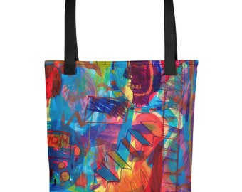 Moon Man - Amazingly beautiful full color tote bag with black handle featuring children's donated artwork.