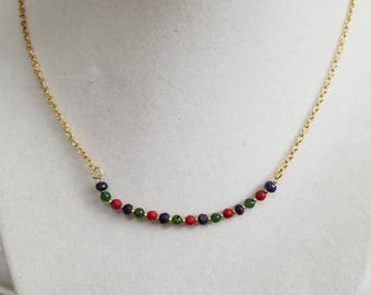 Natural Sapphire, Coral & Jade Necklace, Girlfriend Gift