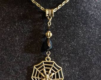 """18"""" Spiderweb with Skull pendant necklace with Jet Black Crystal Beads"""