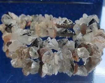 Bracelet with rutile quartz and tourmaline quartz