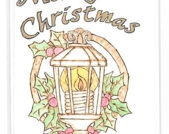 Gold Merry Christmas 'Lamp Post' Christmas Card/ Christmas/Card/Pyrography/Lamp Post