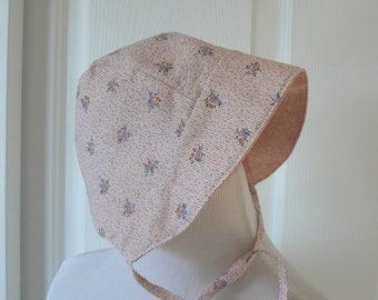 6/12 Month Sunbonnet, Reversible Sunbonnet, Peach Floral Sunhat, Spring/Summer Bonnet, Baby Sunbonnet