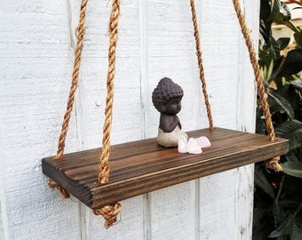 Reclaimed Wood Floating Shelf - Rope Shelf - Suspended Shelf - Rustic Home Decor- Hanging swing shelf - Hemp Rope- Recycled Wood