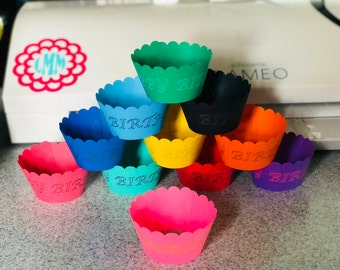 Colorful Happy Birthday Cupcake Wrappers, Standard Size Cupcake Liners, Scalloped edge, Set of 12 pcs