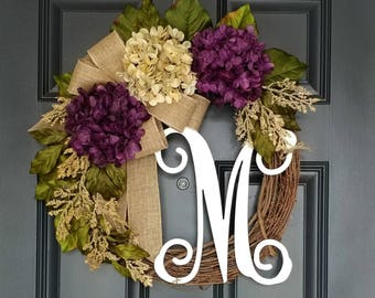 Front Door Wreath,Year Round Wreath,Purple Hydrangea Wreath,Wreath for Door,Spring Wreath,Year Round Wreath,Mother's Day Gift,Housewarming