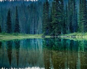Fine Art Landscape Photography Print, Mt Rainier Reflection Lake, Pacific Northwest Landscape Print, Wall Art Decor, Nature Print