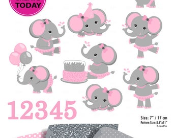 Pink Gray Girl Elephant Clip art, Baby grey peanut clip art, png. Nursery, Baby Shower,birthday party, instant download commercial use