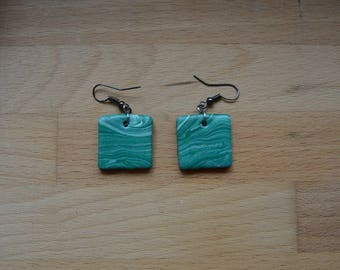 Earrings-mottled green/white