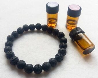Lava Stone Essential Oil Diffuser Stretch Bracelet Unisex