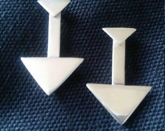 Geometric Tribal Sterling Silver Earrings