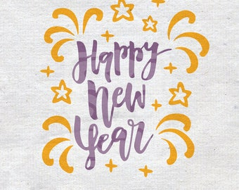 Happy New Year SVG, Christmas SVG, New Year SVG, New Year svg File, Easy Cricut Cutting File, year 2018 svg,cameo cricut, New Year 2018 svg