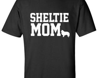 Shetland Sheepdog Sheltie Dog mom 100% Cotton Graphic Logo Tshirt