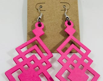 Paper Earrings - Hanging Squares Geometric Design - Custom-Made Earrings