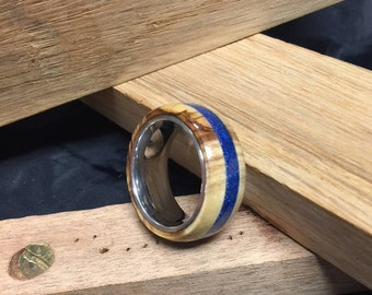 Bethlehem Olive Wood ring with deep blue inlay