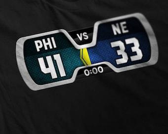 PHI 41 NE 33 final score shirt