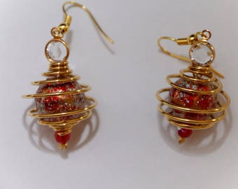 Aventurine earrings gold and red balls nickel and lead free