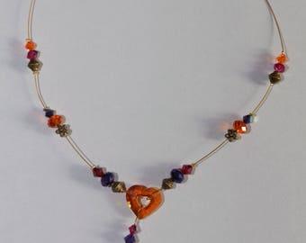 Adjustable heart Swarovski xilion oval orange, purple and Fuchsia Crystal Necklace