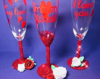 Smitten Kitten Valentine Glitter Glass Hand Made