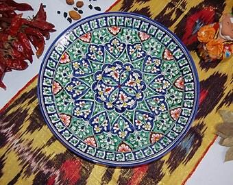 Uzbek decorative ceramic vintage style handmade painted plate, diameter: 31 sm (12.20 in) 0004