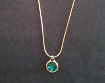Pendant Necklace, Emerald color stone