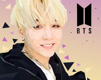BTS Poster,BTS Print,Suga BTS,Kpop Print,Suga Drawing,Suga Print,Kpop Poster,Bts Drawing,Bts Illustration,Bangtan Boys,JungKook,J Hope,Jimin