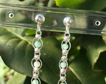 Japanese Lace Earrings, Chainmaille Earrings, silver earrings, chainmail earrings, sea green earrings
