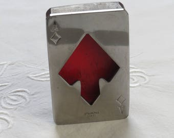 Beer bottle opener stainless steel Ace of Diamond on wood made in the 1950s. Bar or poker table design.