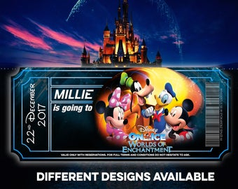 Personalised Disney Ticket Invitation I Cinderella | Disney on Ice | Mickey and Minnie | Disneyland | Paris Florida | Post Card Any Size