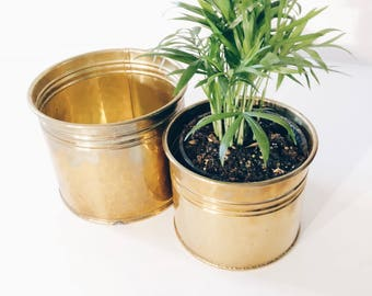 Set of 2 Hollywood regency small brass planters