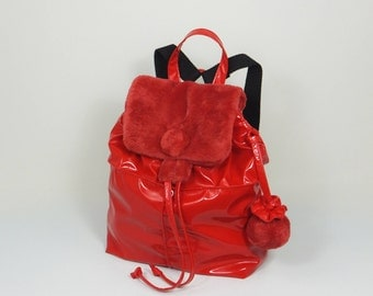 Backpack, Red Backpack, Glossy Backpack, Gift for Her, Red Handbag, Gift Idea, Backpack for Women, Glossy handbag, Vinyl Backpack, Vinyl Bag