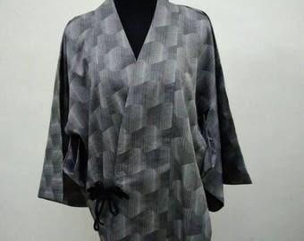 Japanese haori kimono Gray kimono jacket /kimono cardigan/kimono robe/#007