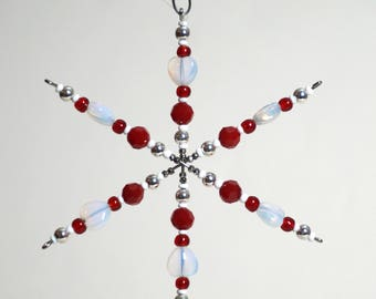 Beaded Star Ornament - Red & White
