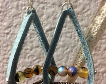 Light Blue Leather Earrings with Iridescent Beads