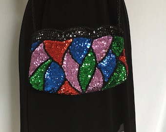 Vintage Sequin and Beaded Evening Bag Multicolored La Regale LTD.