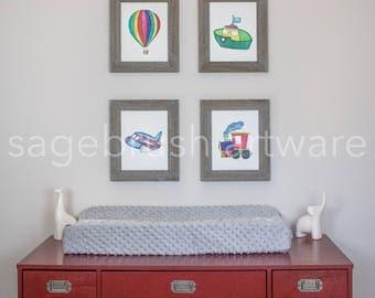 Transportation Nursery Art - Personalized Baby Art Gift - Children's Art - Girls Room Decor, Boys Room Wall Art - Watercolor Prints